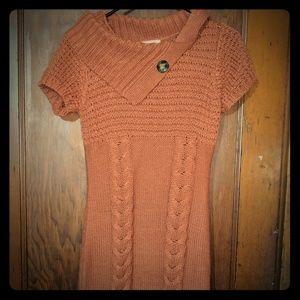 Pink Rose Burnt Orange Sweater Dress